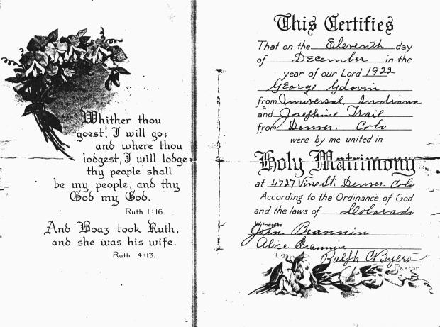 Gdovin George-Josephine Trail Marriage Certificate