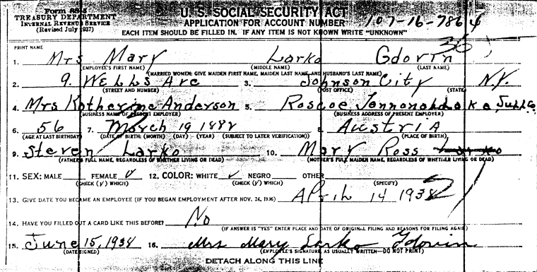 Larko Mary Social Security