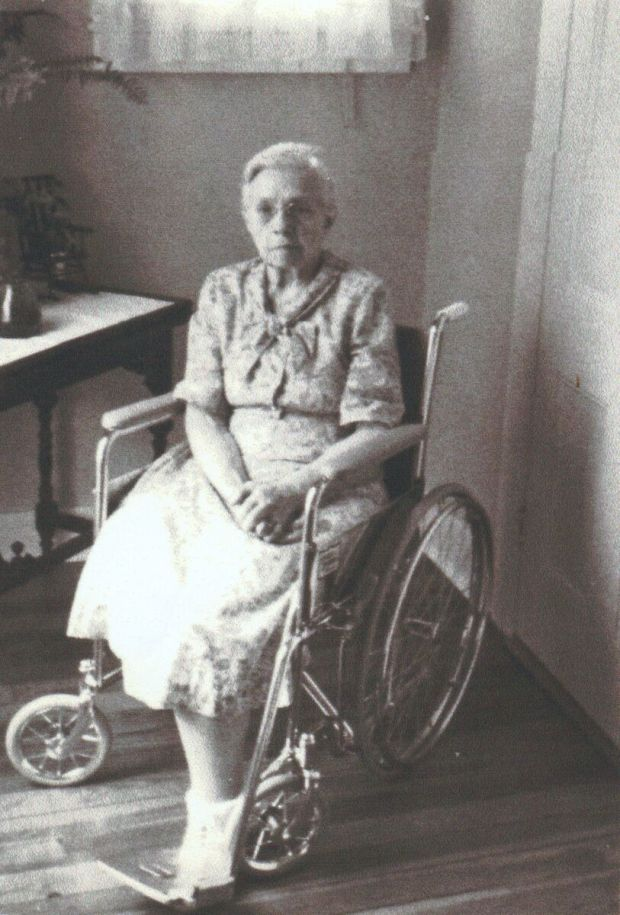 Mary Larko in a wheelchair