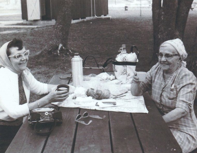 Mary Larko on right; Martha Gdovin Adair on left