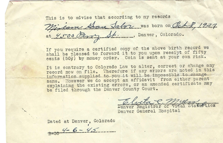 1927 10 08 Record of home birth
