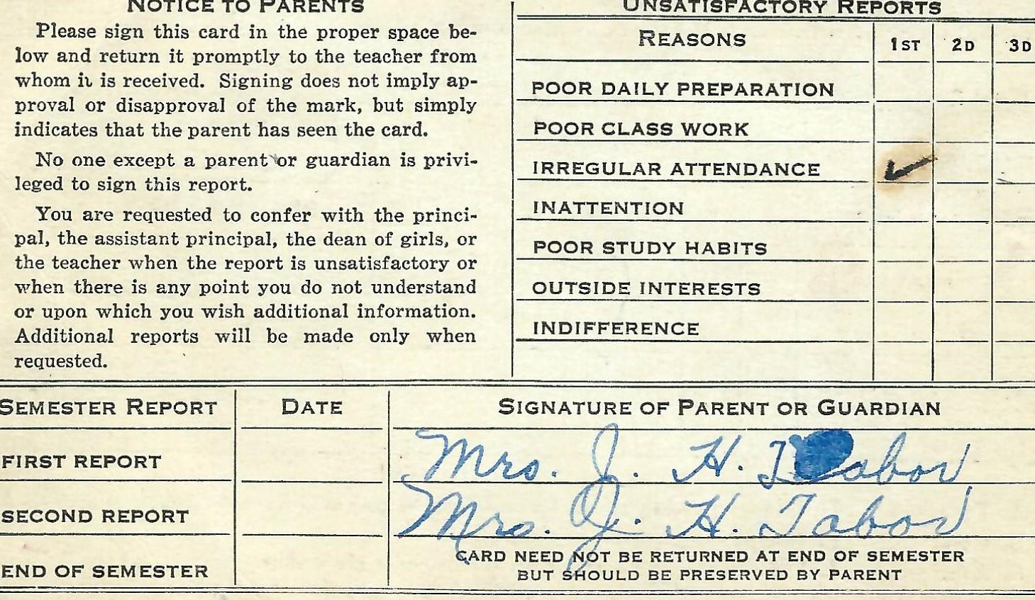 1942 (circa) Report Card North High, Denver CO Back