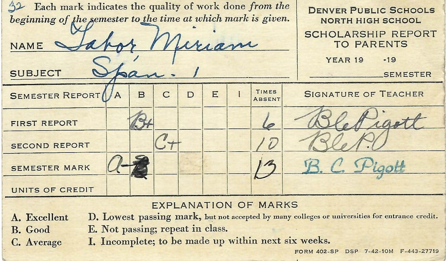 1942 (circa) Report Card North High, Denver CO